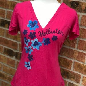 Hollister Hot Pink Top With Blue Flowers!💖